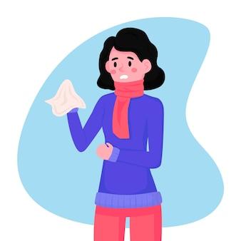 Persona con ilustración fría