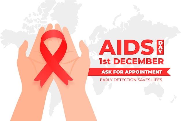 Persona ilustrada del día mundial del sida plana sosteniendo una cinta roja