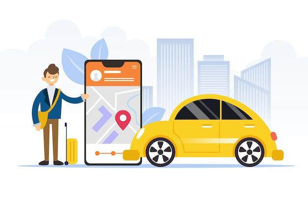 Persona ilustrada junto a la aplicación de taxi en el teléfono