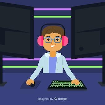 Persona jugando un juego de computadora