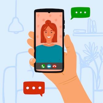 Persona llamar a mujer joven a través de video en línea en el teléfono en casa. concepto quédese en casa y llame a su amigo o amante desde el gráfico de video. ilustración dibujada a mano sobre fondo azul con muebles.