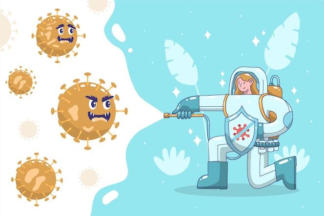 Persona luchando contra el concepto de virus