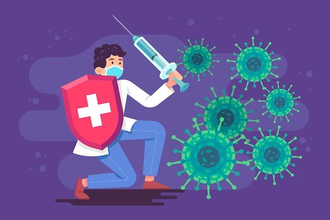 Persona luchando contra la ilustración del virus