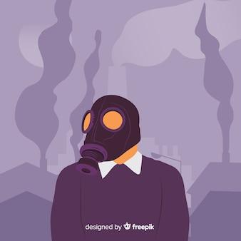 Persona con máscara rodeado de niebla tóxica