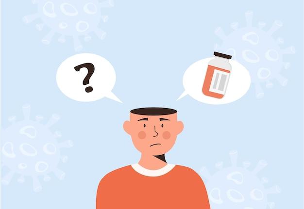 Una persona masculina confunde. hombre pensando en la vacunación covid-19. elección de la vacuna contra el coronavirus. frasco de medicación y signo de interrogación. ilustración de vector de estilo plano.