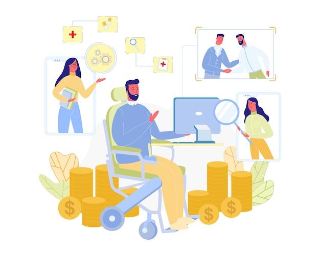 Persona masculina discapacitada trabaja en casa con la computadora