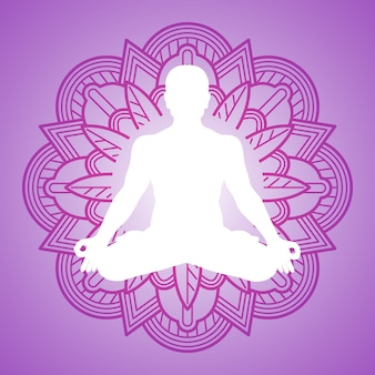Persona de meditación en el marco del mandala de flores. diseño de logotipo de yoga