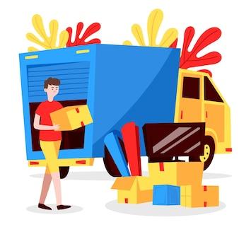 Persona moviendo muebles de casa