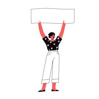 Persona, una mujer protestando con una pancarta
