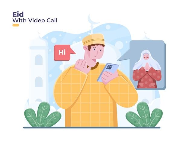 Persona musulmana celebrando el eid con videollamada en línea