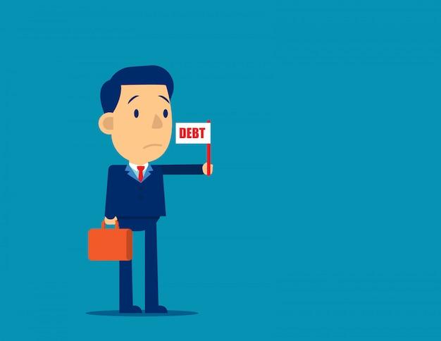 Persona de negocios con cartel de bandera de deuda