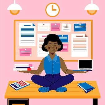 Persona de negocios de dibujos animados meditando