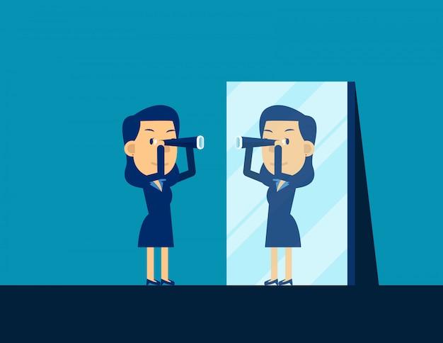Persona de negocios mirando telescopio y reflejando en espejo