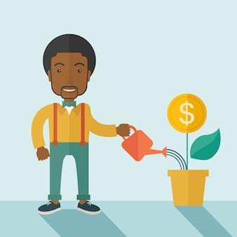 Persona de negocios regando una planta en crecimiento.