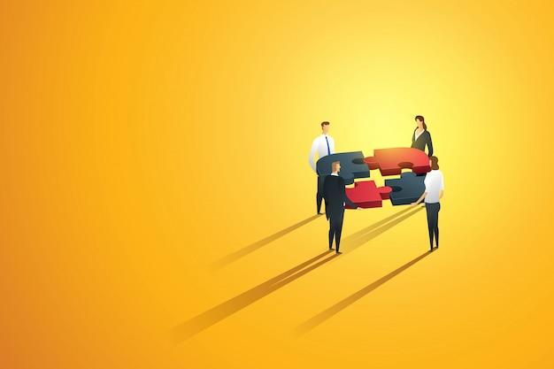 Persona de negocios trabajo en equipo asociación cooperación construcción crear una interacción de equipo a meta, infografía de rompecabezas. ilustración
