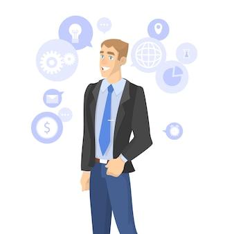 Persona de negocios en traje. discusión y comunicación