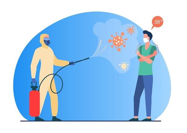 Persona en paño protector desinfectando el espacio con desinfectante. infección, persona enferma ilustración vectorial plana. coronavirus, prevención de la propagación