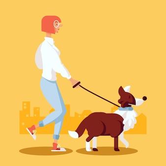 Persona paseando el concepto de perro