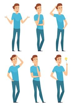 Persona pensativa. la cara de pensamiento de la expresión masculina plantean preocupada preguntando seria. la expresión y el gesto del personaje masculino de la cara plantean la ilustración