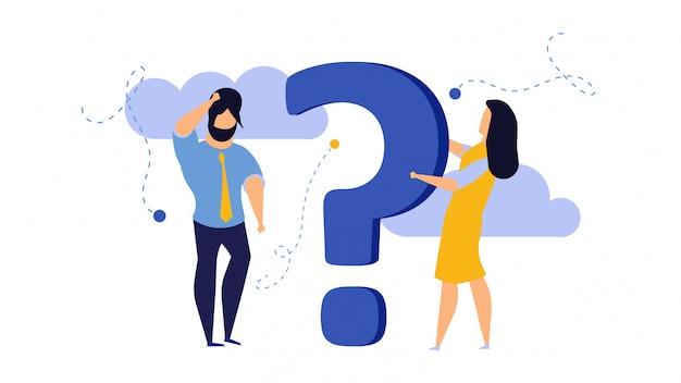 Persona personas signo de interrogación respuesta ilustración concepto acción.