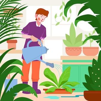 Persona plana cuidando plantas.