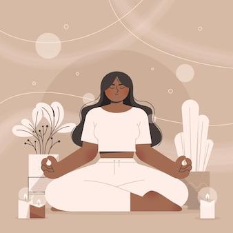 Persona plana orgánica meditando vector gratuito