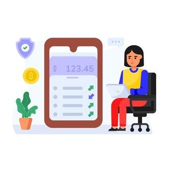 Persona que administra la ilustración de personaje plano de la aplicación de finanzas