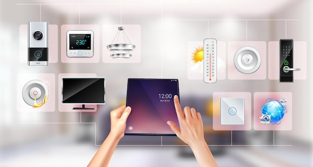 Persona que controla el hogar inteligente con tableta