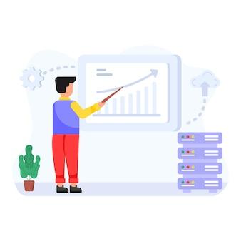 Persona que explica la ilustración plana del análisis del servidor del servicio del tablero