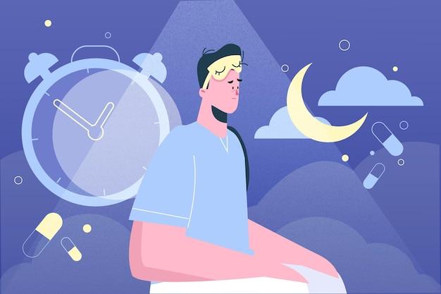 Persona que se queda despierta hasta altas horas de la noche debido al insomnio