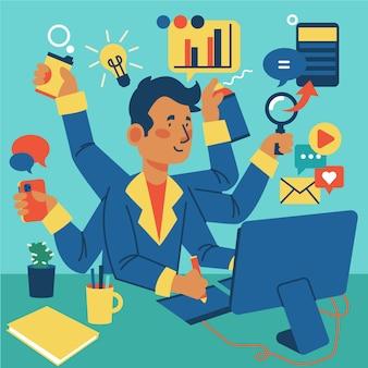 Persona que realiza diferentes actividades al mismo tiempo ilustrada