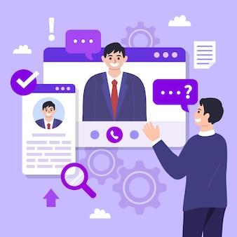 Persona que realiza una entrevista en línea