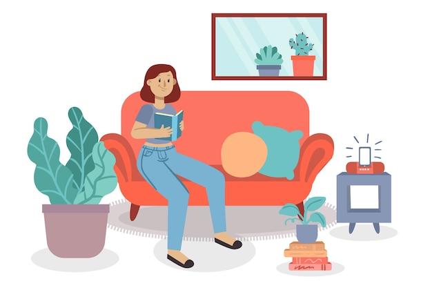 Una persona que se relaja en casa diseña