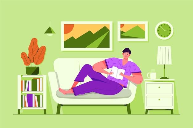 Una persona que se relaja en casa ilustración