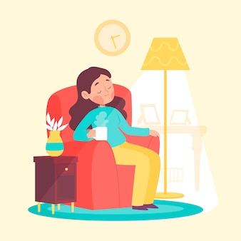 Una persona que se relaja en el concepto de hogar