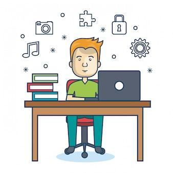 Persona que trabaja el icono de la oficina