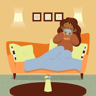Una persona relajándose en casa