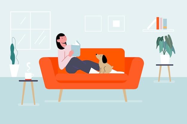 Persona relajándose en casa