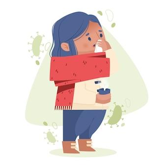 Una persona con un resfriado