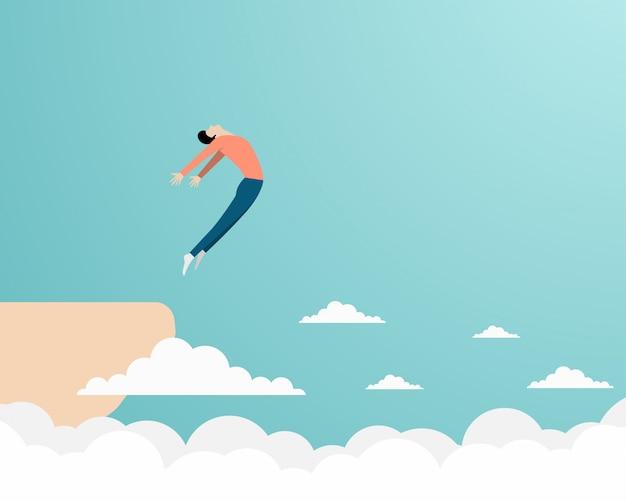 Persona saltando de un acantilado