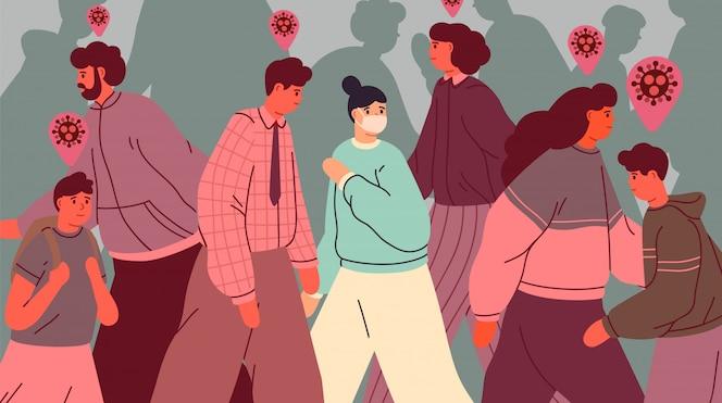Persona sana en mascarilla entre personas infectadas. personas durante el brote epidémico de virus. pandemia de coronavirus. concepto de contaminación y prevención de infecciones. ilustración de estilo plano.