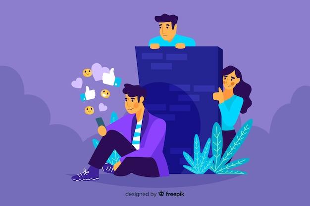 Persona separada de la ilustración del concepto de amigos