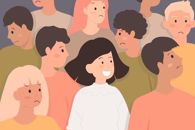 Persona sonriente en multitud