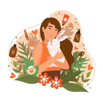Persona sosteniendo animal en los brazos dibujados a mano
