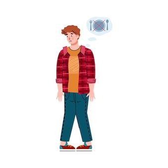Una persona sufre de síntomas de intoxicación alimentaria aislado en blanco