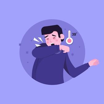 Persona tosiendo con fiebre