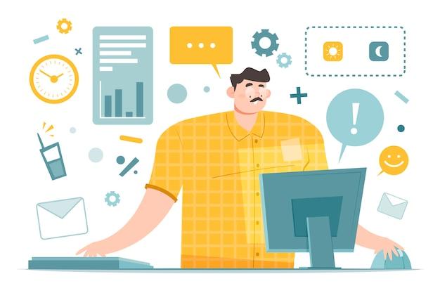 Persona trabajadora multitarea tratando de resolver todo