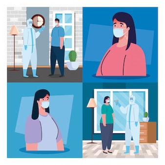 Persona con traje de desinfección, con termómetro infrarrojo digital sin contacto, escenarios