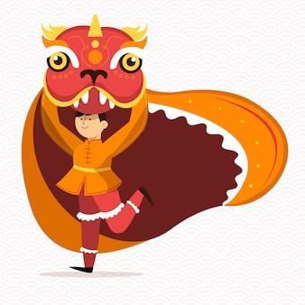 Persona vestida con un traje de dragón año nuevo 2020
