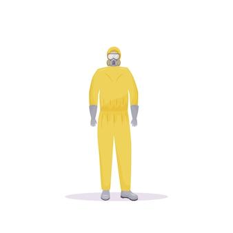 Persona vestida con traje protector con frascos de color plano sin rostro